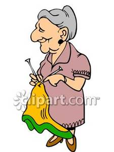 Woman Knitting Clipart.
