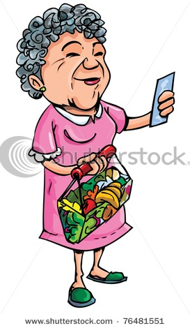 Of An Elderly Woman Grocery Shopping Reading Her Grocery List In A.