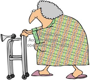 Clipart elderly woman walker.