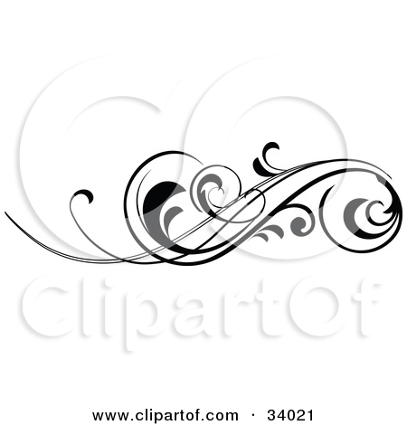 Clipart Illustration of an Elegant Black Scroll With Curling Tips.