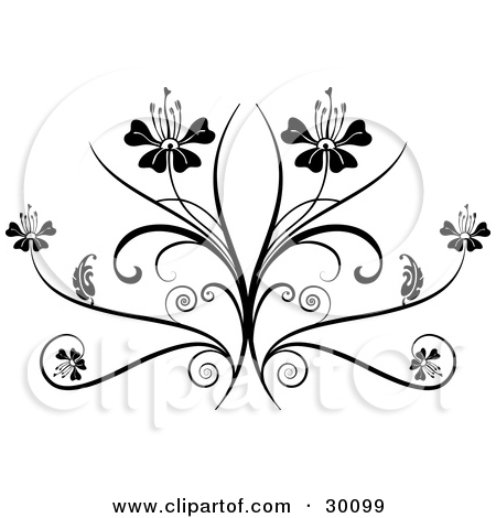 Clipart Illustration of Two Flowers On Top Of An Elegant Black.