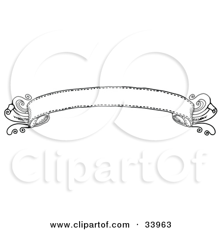 Clipart Illustration of an Elegant Black And White Banner by C.