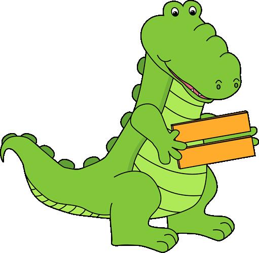 Alligator Holding an Equal Sign Clip Art.