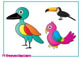 Cartoon Exotic Birds, free vectors.