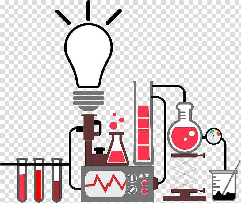 Red and black laboratory experiment illustration, Science.