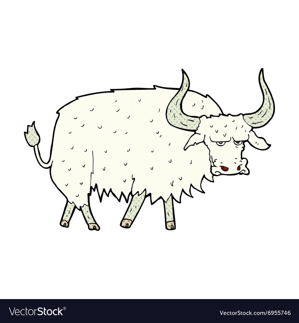 Comic cartoon annoyed hairy ox.