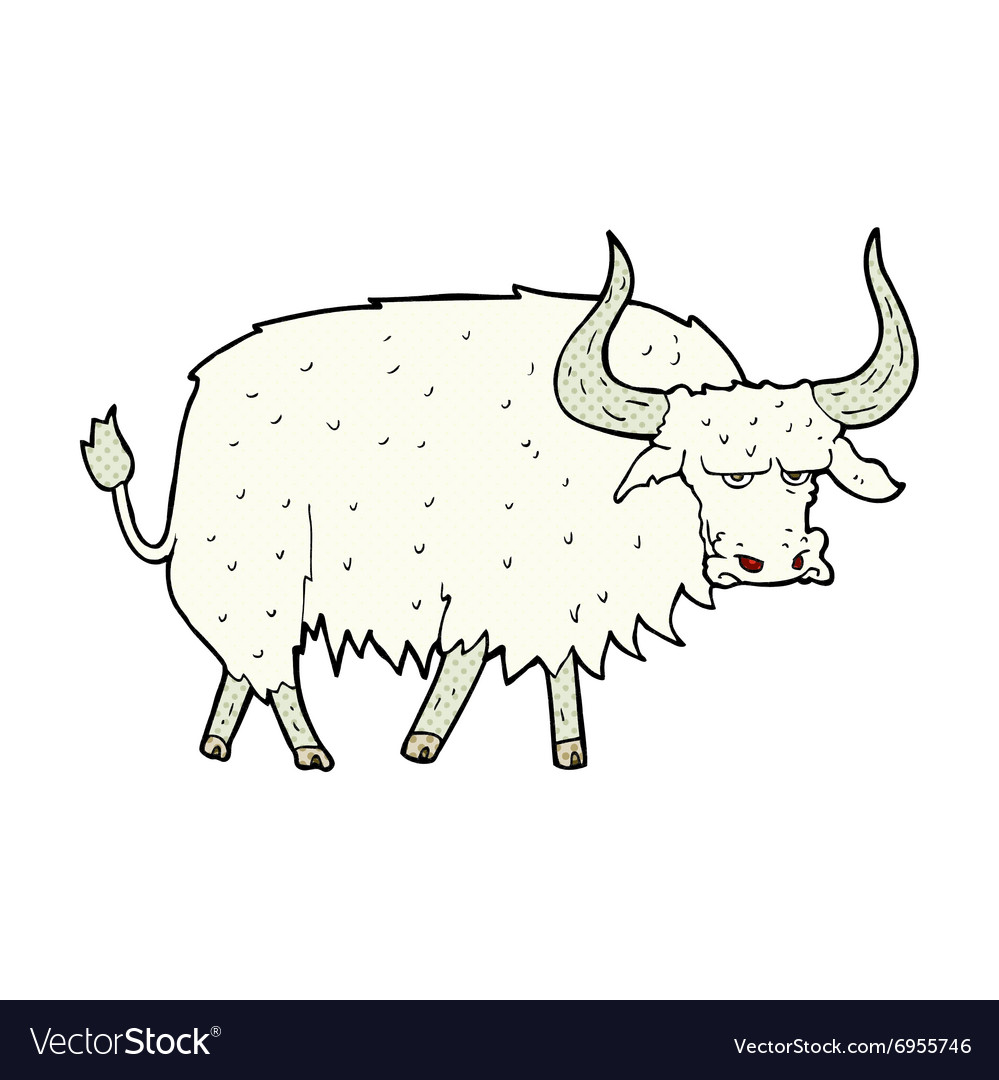 Comic cartoon annoyed hairy ox.