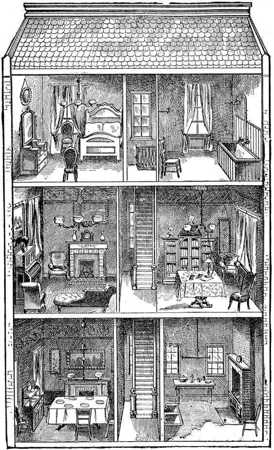 "Doll house clip art. Image from Paul Bercy's ""Simples Notions de."