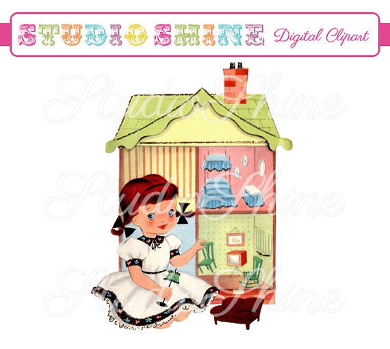Girl with dollhouse clipart.