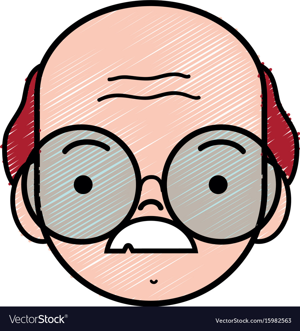Old man face with glasses and mustache.