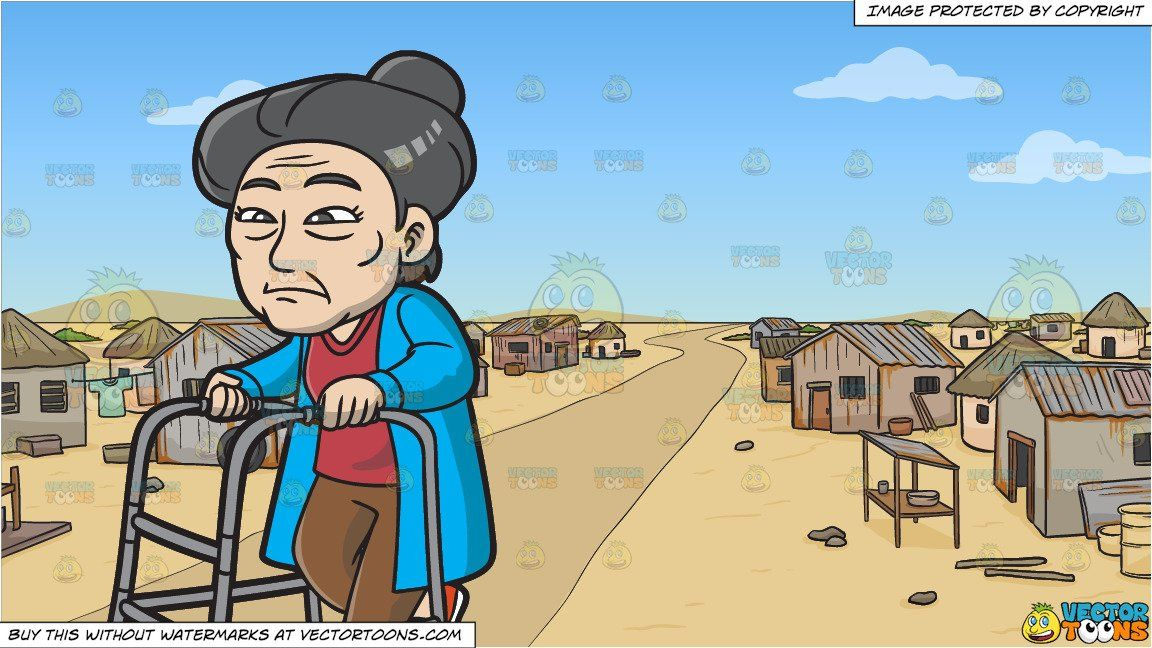 clipart #cartoon An Old And Weak Asian Woman and A Slum.