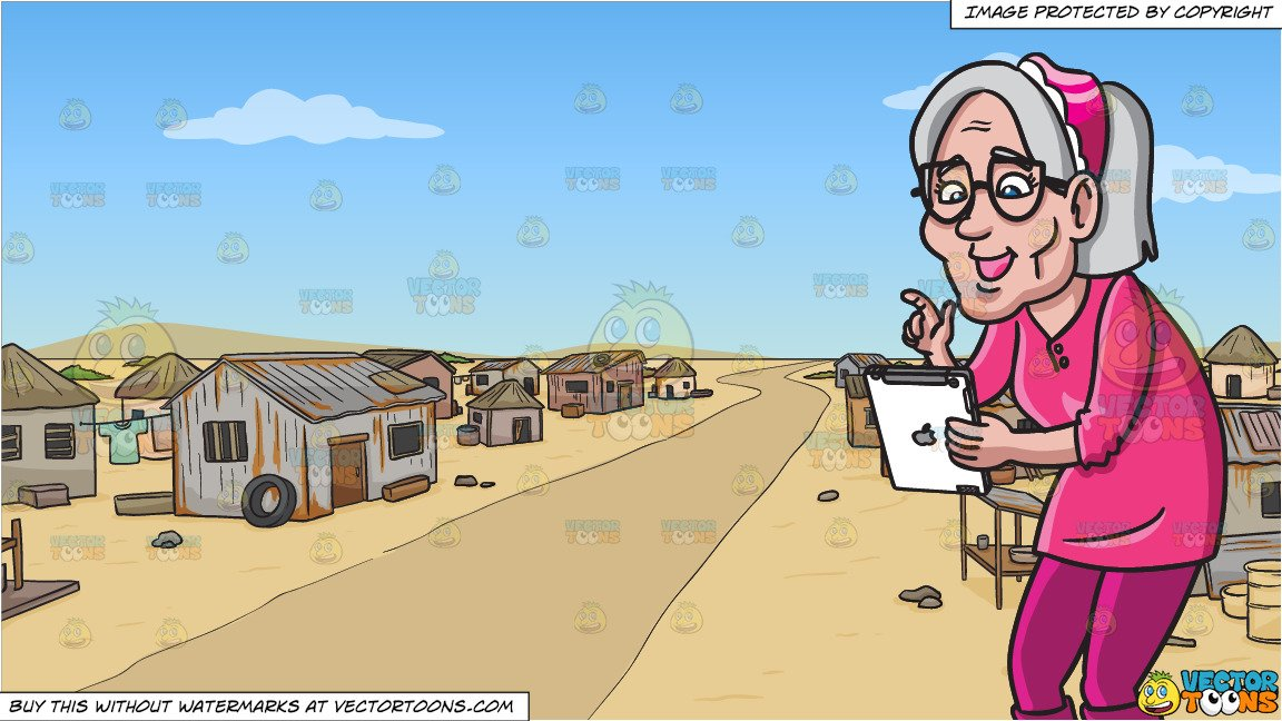 An Old Woman Using An Ipad and A Slum Neighborhood In The Middle Of Nowhere  Background.