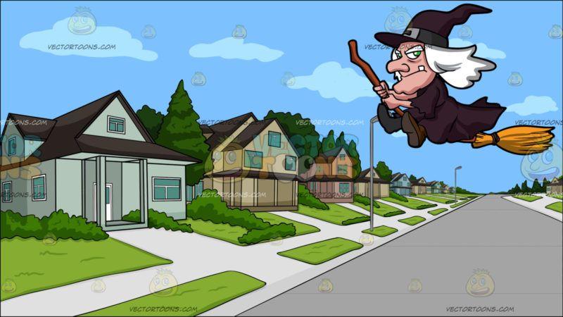 Suburban Neighborhood Clipart.