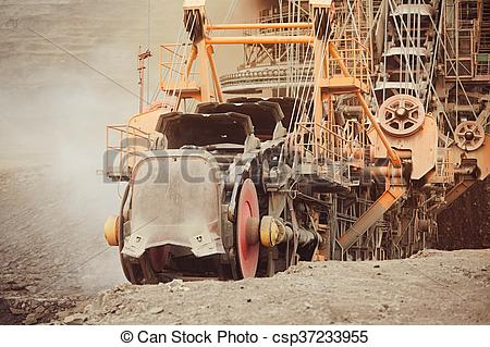 Stock Images of Coal mining in an open pit.