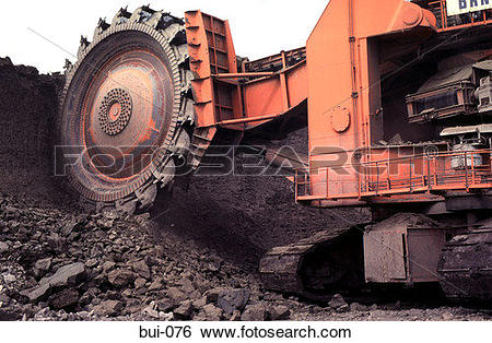 Stock Images of Open Cast Coal Mining Bucket Excavator bui.