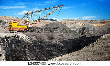 Stock Photo of Dragline on open pit coal mine k34227422.