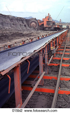 Stock Photo of Conveyor Belt and Excavator in an Open Cast Coal.