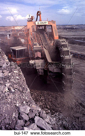 Picture of Open Cast Coal Mining Bucket Excavator at Coal face bui.