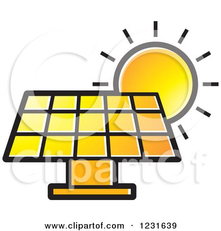 Clipart of a Sun over an Orange Solar Panel Icon.