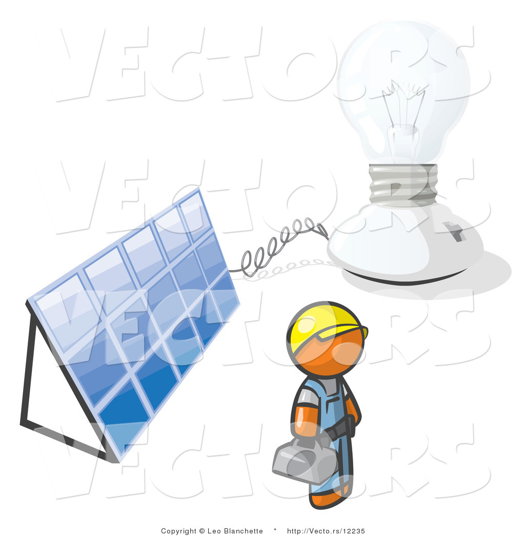 Vector of Orange Guy by a Light and a Solar Panel by Leo.