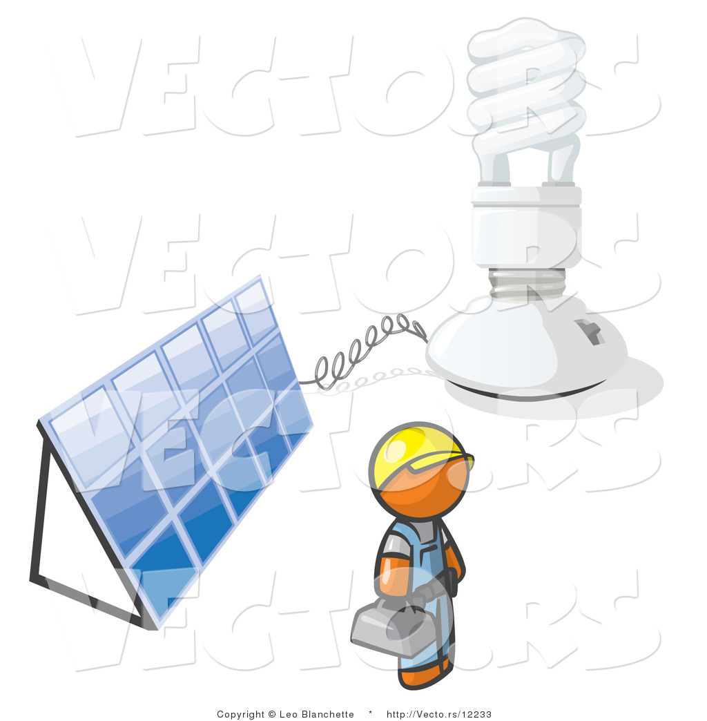 Vector of Installer Orange Guy by an Energy Saver Light Bulb and.