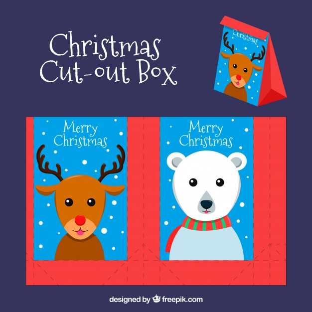 Christmas cut out box with animals Vector.
