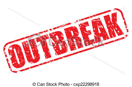 Vector Clip Art of Outbreak red stamp text on white csp22298918.