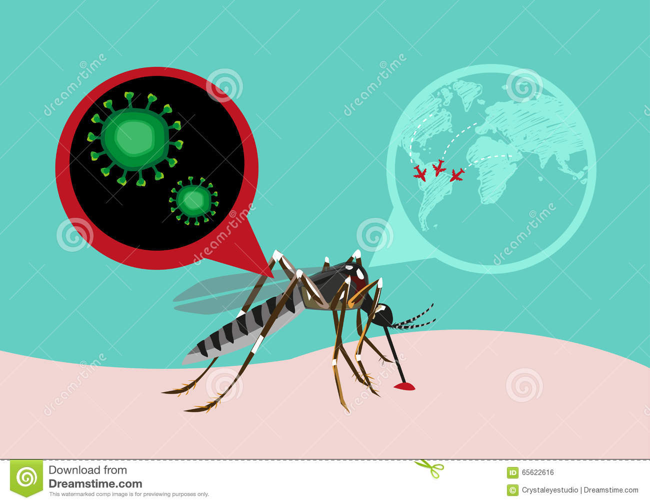 Zika Fever Virus Outbreak And Travel Alert Concept. Editable Clip.