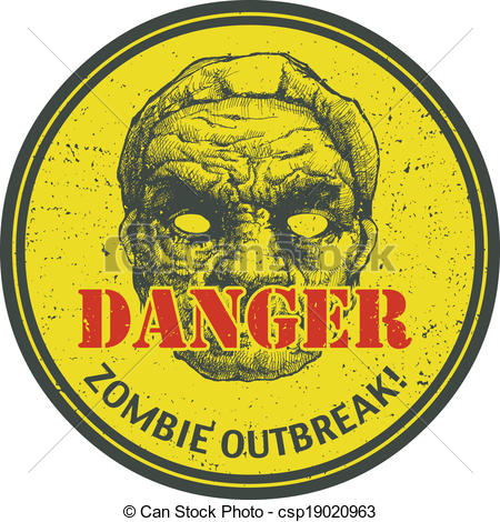 Clip Art Vector of Zombie Outbreak. Hand drawn. Vector Eps8.