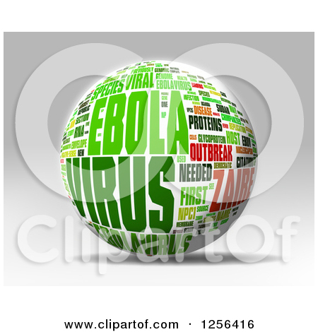 Clipart of a 3d Yellow and Red Ebola Virus Outbreak Word Collage.