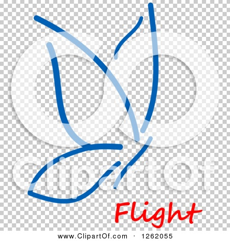 Clipart of a Blue Butterfly over Flight Text.