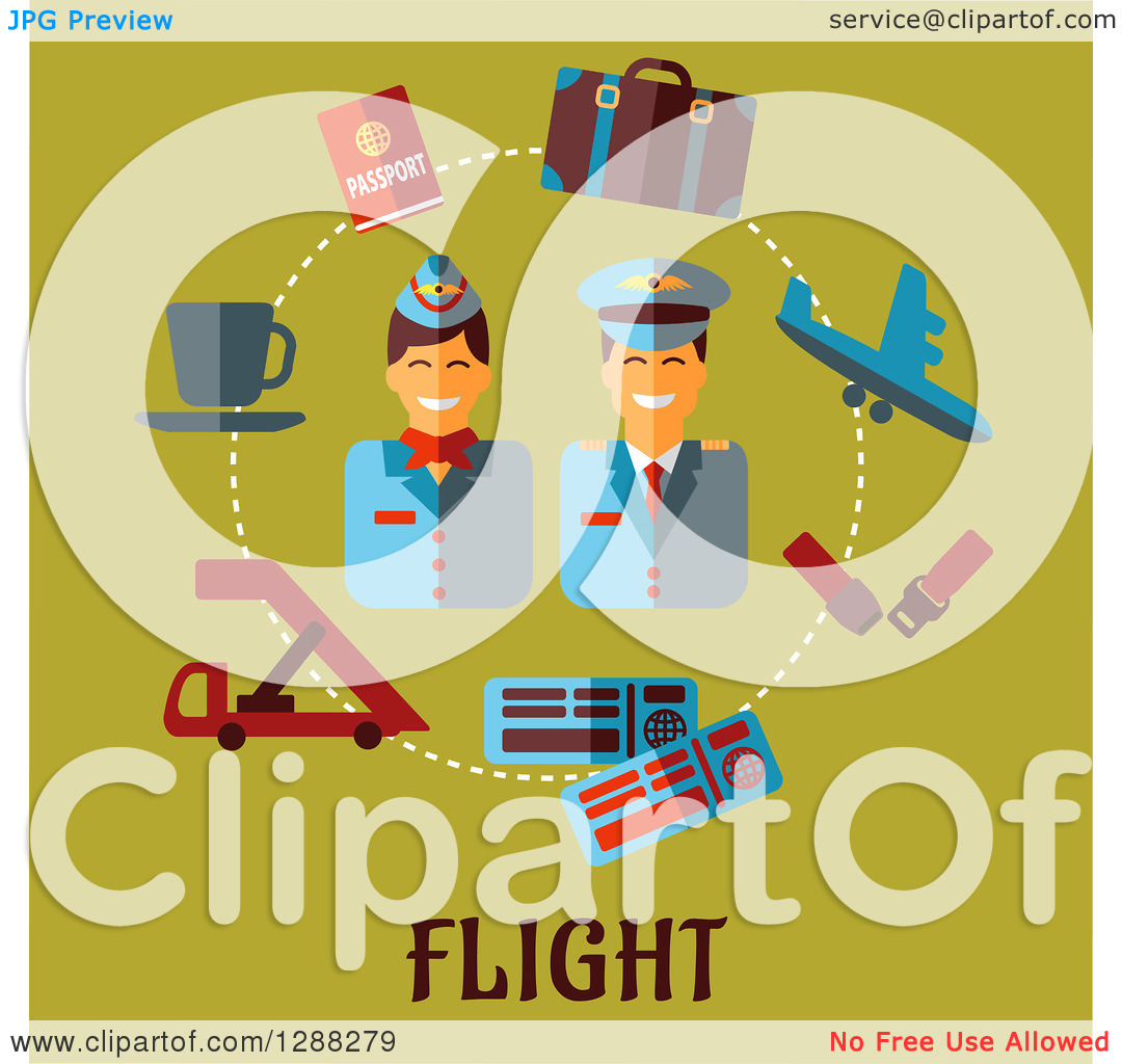Clipart of a Stewardess and Pilot Encircled with Flat Modern Icons.