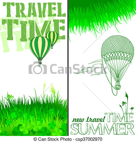 Stock Illustrations of new journey in a balloon.