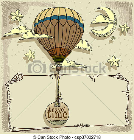 Clipart of new journey in a balloon.