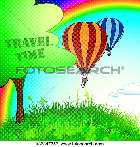 Drawing of new journey in a balloon k36847753.