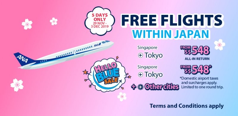 Singapore to Japan Flights for S$548 with ANA\'s Hello Blue.