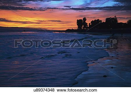 "Pictures of ""Deep purple and orange sunset looking towards Anacapa."