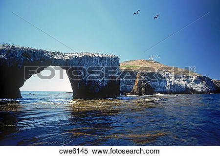Stock Image of Anacapa Island Lighthouse in Channel Islands.
