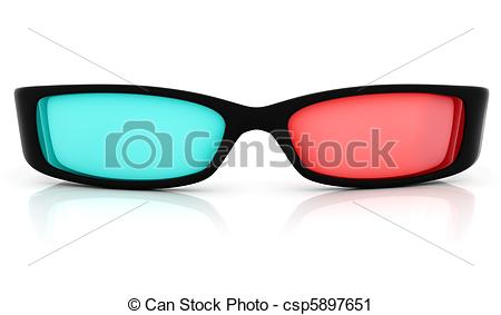 Clipart of Stereo 3D glasses on white. Red cyan anaglyph.