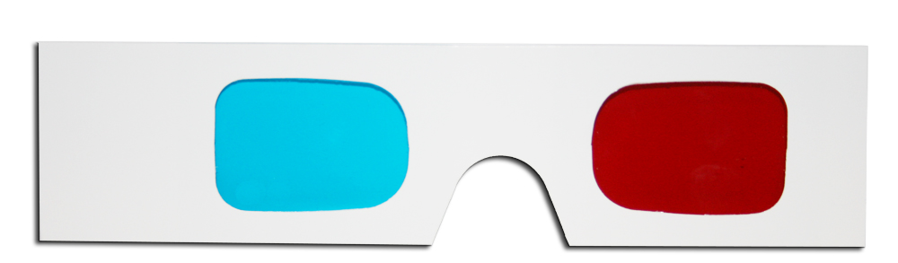Hand Held Anaglyphic 3D Glasses (Made in the USA) Red Cyan.