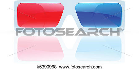Clip Art of 3d anaglyph glasses k6390968.