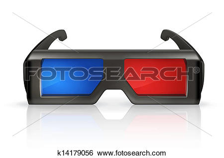 Clip Art of Plastic anaglyph glasses k14179056.