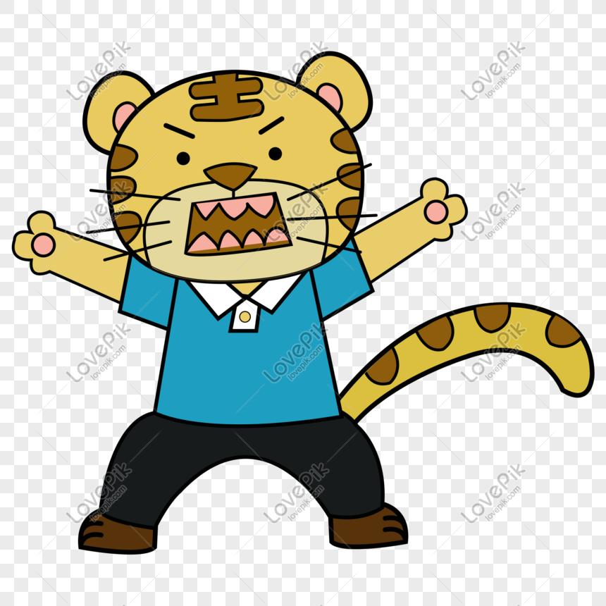 anak anak vektor kartun menggambar harimau dengan mulut.