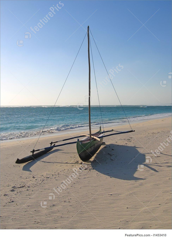 Vezo Boat On The Beach, Anakao, Madagascar Image.