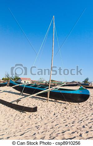 Stock Image of Outrigger canoe.