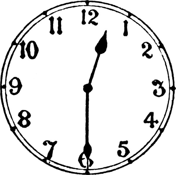 Analogue clock clipart.