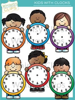 Kids with Clocks Clip Art.
