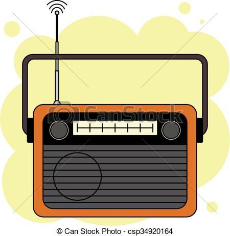 Clip Art Vector of Orange analog radio receiver.