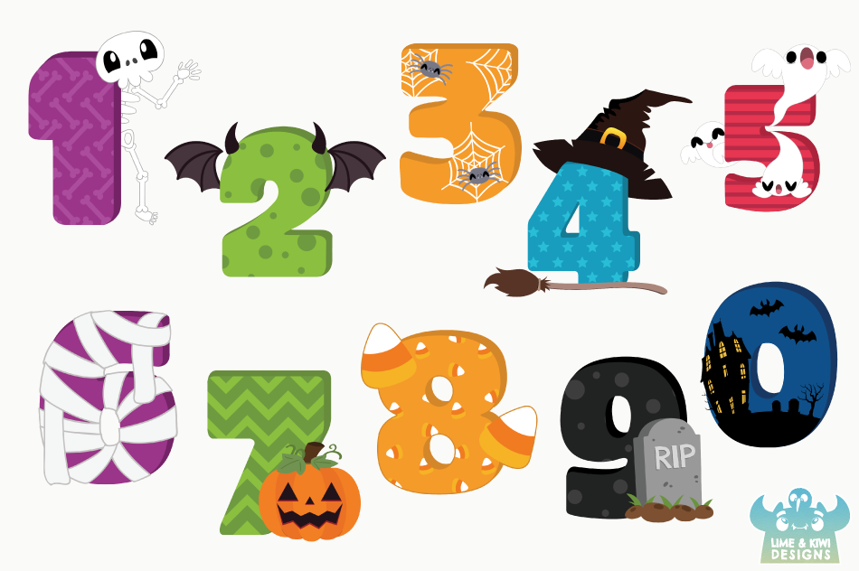 Halloween Numbers Clipart, Instant Download Vector Art By.