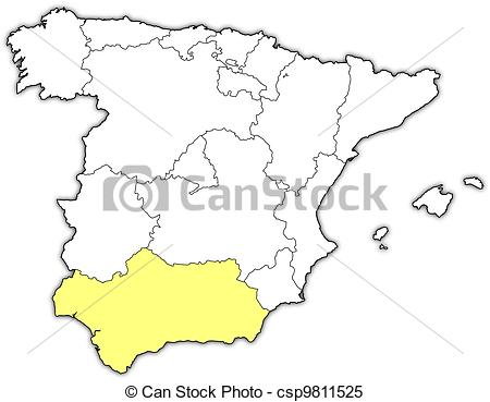 Clipart Vector of Map of Spain, Andalusia highlighted.